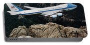 Air Force One Flying Over Mount Rushmore Portable Battery Charger