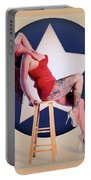 Air Force Pinup With Calypso Jean Portable Battery Charger