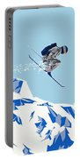 Airborn Skier Flying Down The Ski Slopes Portable Battery Charger