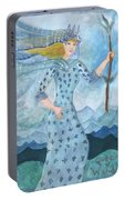 Airy Queen Of Wands Portable Battery Charger