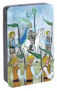 Airy Six Of Wands Illustrated Portable Battery Charger