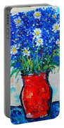 Albastrele Blue Flowers And Daisies Portable Battery Charger by Ana Maria Edulescu