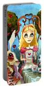Alice And The Rabbit Having Tea... Portable Battery Charger