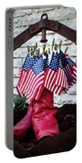 All American Flag And Red Boots - Painterly Portable Battery Charger