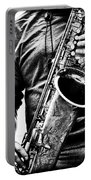 All Blues Man With Jazz On The Side Portable Battery Charger by Bob Orsillo