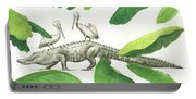 Alligator With Pelicans Portable Battery Charger