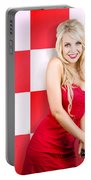 Alluring Long Haired Blonde Beauty In Retro Cafe Portable Battery Charger