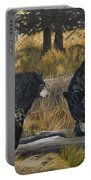 Along An Autumn Path - Black Bear With Cubs Portable Battery Charger