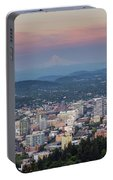 Alpenglow Over Portland Oregon Cityscape Portable Battery Charger