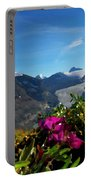 Alpine Meadow Flowers Overlooking Glacier Portable Battery Charger