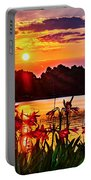 Amaryllis At Sunrise Over Lake Portable Battery Charger