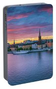 Dramatic Sunset Over Stockholm Portable Battery Charger