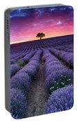 Amazing Lavender Field With A Tree Portable Battery Charger