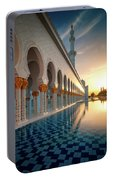 Amazing Sunset View At Mosque, Abu Dhabi, United Arab Emirates Portable Battery Charger