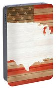 America Rustic Map On Wood Portable Battery Charger