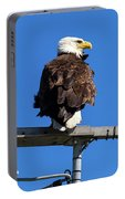 American Bald Eagle On Communication Tower Portable Battery Charger