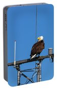 American Bald Eagle Perched On Communication Tower Portable Battery Charger