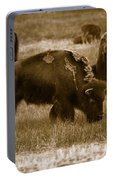 American Bison Grazing - Bw Portable Battery Charger