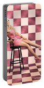 American Culture Pin Up Girl Inside 60s Retro Diner Portable Battery Charger