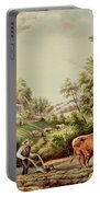 American Farm Scenes Portable Battery Charger by Currier and Ives