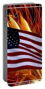 American Flag And Fireworks Portable Battery Charger