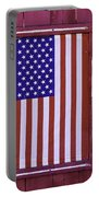 American Flag In Red Window Portable Battery Charger