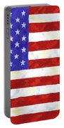 American Flag Portable Battery Charger by Linda Mears