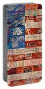 American Flag - Made From Vintage Recycled Pop Culture Usa Paper Product Wrappers Portable Battery Charger