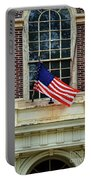 American Flag On An Old Building Portable Battery Charger