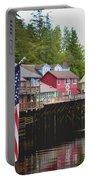 American Flag On Creek Street Ketchikan Alaska Portable Battery Charger