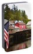 American Flag On Creek Street Ketchikan Alaska Painting Portable Battery Charger