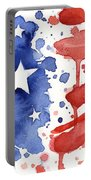 American Flag Watercolor Painting Portable Battery Charger