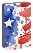 American Flag Watercolor Painting Portable Battery Charger by Olga Shvartsur