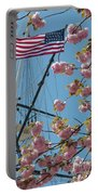 American Flag With Cherry Blossoms Portable Battery Charger