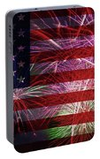 American Flag With Fireworks Display Portable Battery Charger