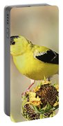 American Goldfinch On Sunflower Portable Battery Charger