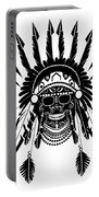 American Indian Skull Icon Background, Black And White  Portable Battery Charger