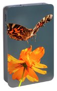 American Lady Butterfly Lands On Cosmos Flower Portable Battery Charger