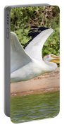 American White Pelican Above The Water Portable Battery Charger
