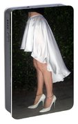Ameynra Fashion White Satin High Low Skirt  Portable Battery Charger