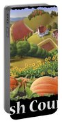Amish Country T Shirt - Appalachian Pumpkin Patch Country Farm Landscape 2 Portable Battery Charger