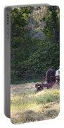 Amish Farmer Raking Hay At Dusk Portable Battery Charger