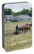 Amish Girl Raking Hay Photo Portable Battery Charger