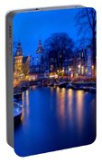 Amsterdam - A Canal Scene At Night . L B Portable Battery Charger