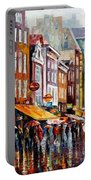 Amsterdam Rain - Palette Knife Oil Painting On Canvas By Leonid Afremov Portable Battery Charger