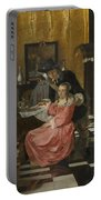 An Interior With A Woman Refusing A Glass Of Wine Portable Battery Charger