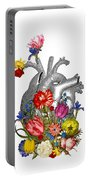 Anatomical Heart With Colorful Flowers Portable Battery Charger
