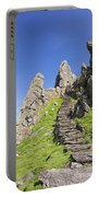 Ancient Steps Leading To Celtic Monastery, Skellig Michael, County Kerry, Ireland Portable Battery Charger