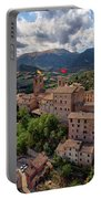 Ancient Village Of Sarnano Italy, Marche, Macerata - Aerial View Portable Battery Charger