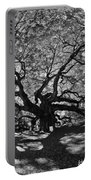 Angel Oak Johns Island Black And White Portable Battery Charger by Lisa Wooten
